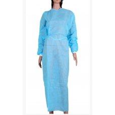 Халат хирурга одноразовый на завязках с манжетом голубой