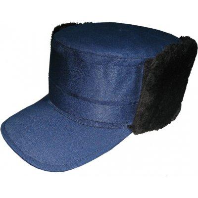 Кепка зимняя с мехом, гретта, синяя/черная