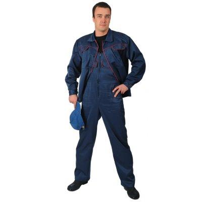 Костюм рабочий Гефест с полукомбинезоном синий с красным кантом
