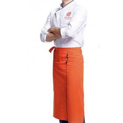 Поварской костюм мужской бело-оранжевый