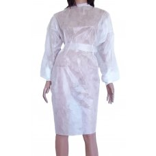 Халат одноразовый на завязках с манжетом белый