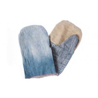 Рукавицы комбинированые, джинс с брезентом