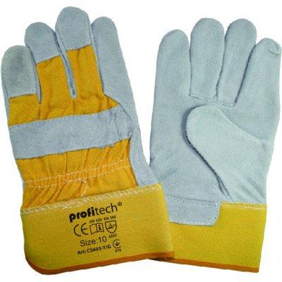 Перчатки х/б спилок с цельным наладоником Profitech Cs603-Y/G
