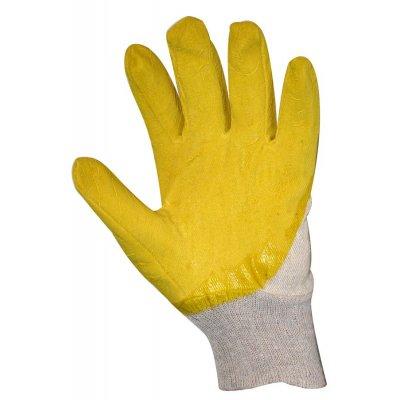 Перчатки Х/Б с антискользящим покрытием покрытые желтым латексом