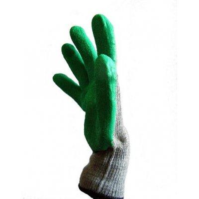Перчатки Х/Б, покрытые зелёным латексом