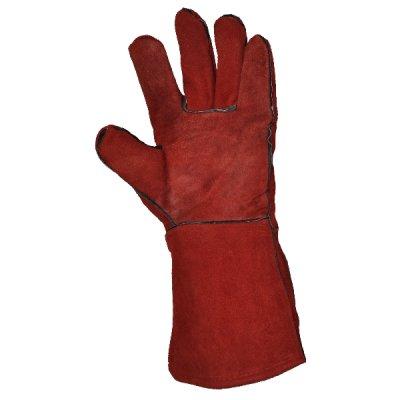 Перчатки с крагами, кожаные (спилок) на подкладке