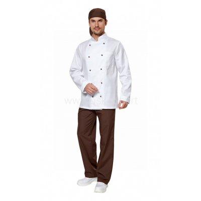 Костюм повара мужской белый/шоколад, пошив под заказ