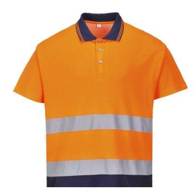 Поло сигнальное оранжево-синего цвета 55 хб