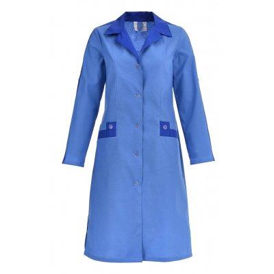 Халат рабочий женский Радуга,  длинный рукав голубой василек