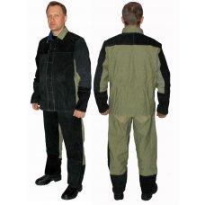 Костюм сварщика огнестойкий, брюки с курткой, ткань брезент с спилок