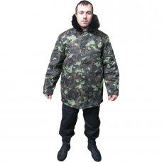Куртка ватная камуфлированная с меховым воротником